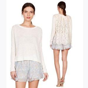 New JOIE Porcelain Linen & Lace Matrika Sweater XS